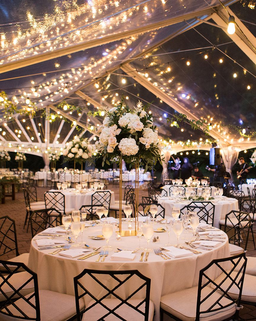 romantic tall wedding centerpieces for clear tented wedding