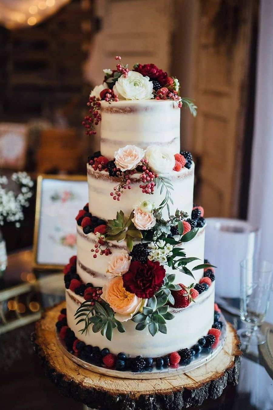 rust wedding cake ideas with floral and fruit in autumn