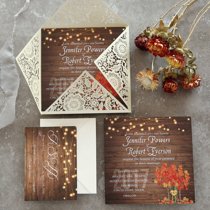 rustic maple leaf stringlights laser cut wedding invitations with twines