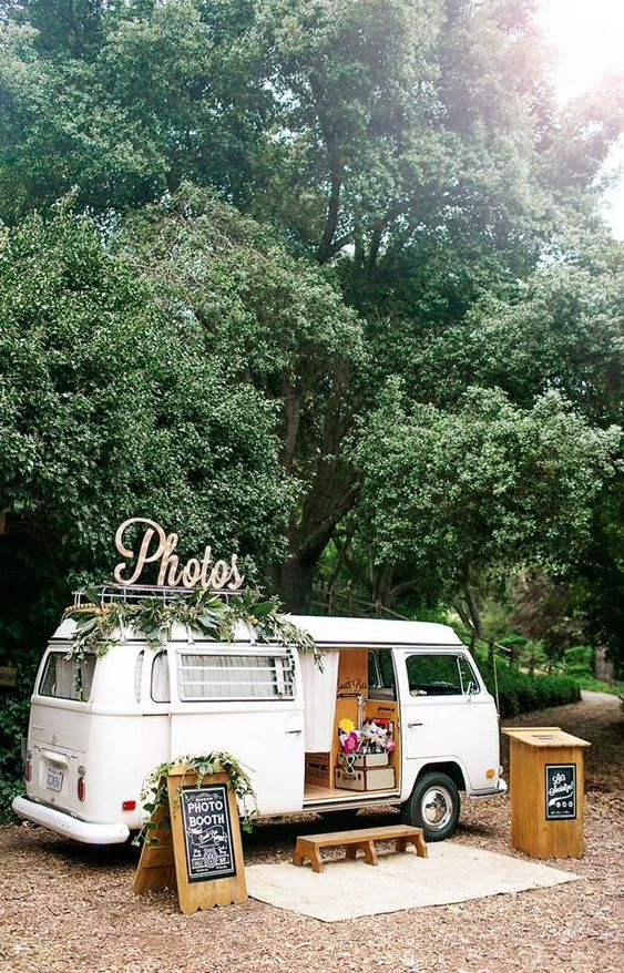 rustic wedding photo ideas with a food truck for snack
