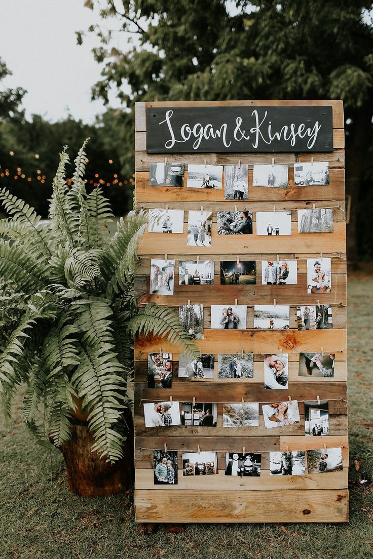 small intimate wedding ideas with photo display backdrop ideas