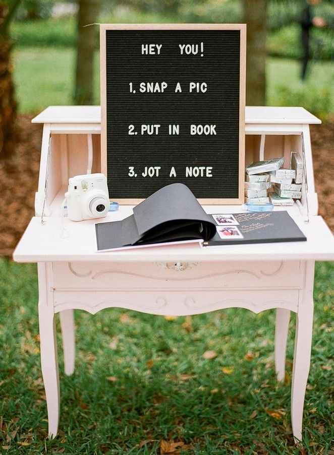 small rustic wedding idead with amazing wedding guest book ideas