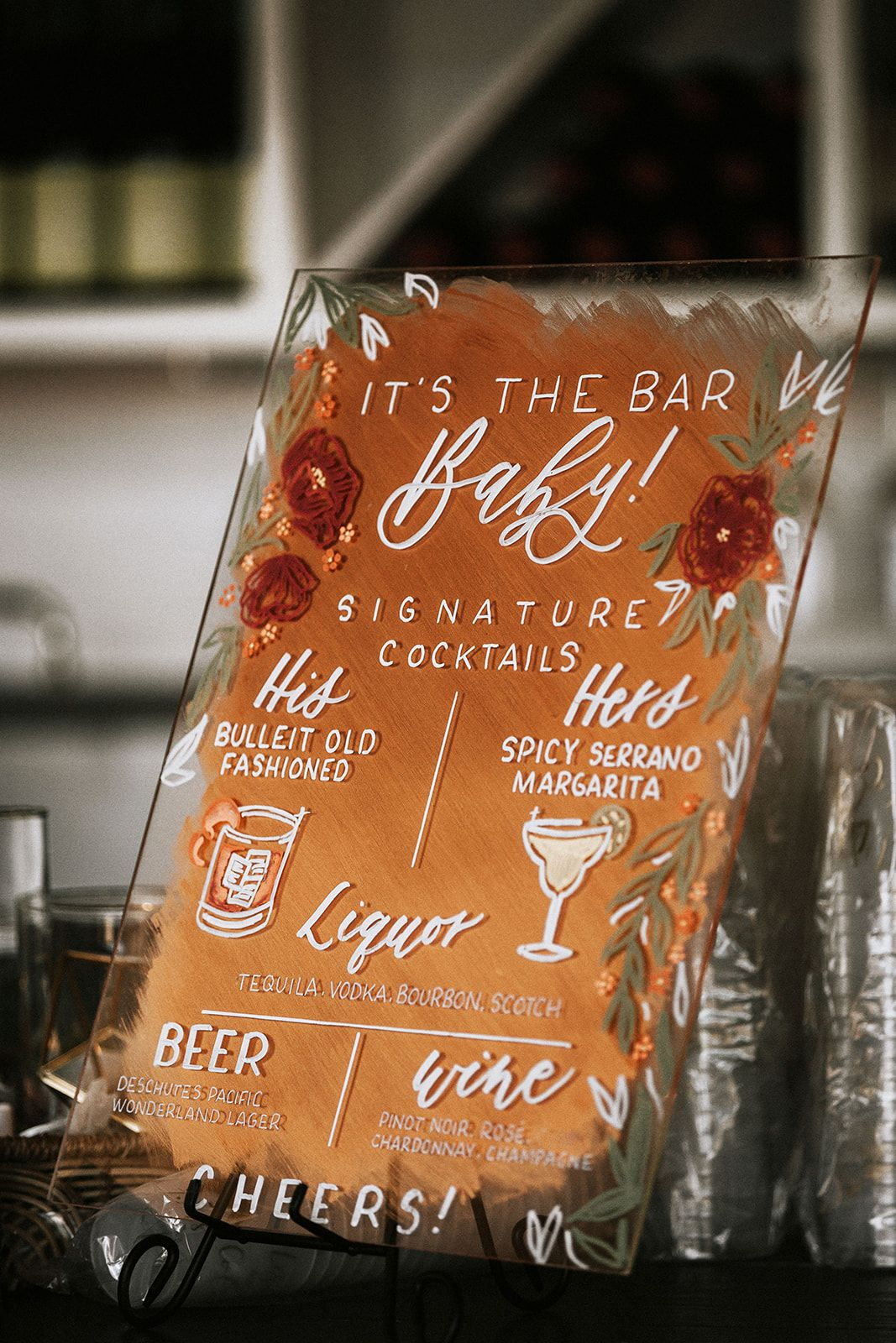 special acrylic orange cocktails bar sign ideas for your big day