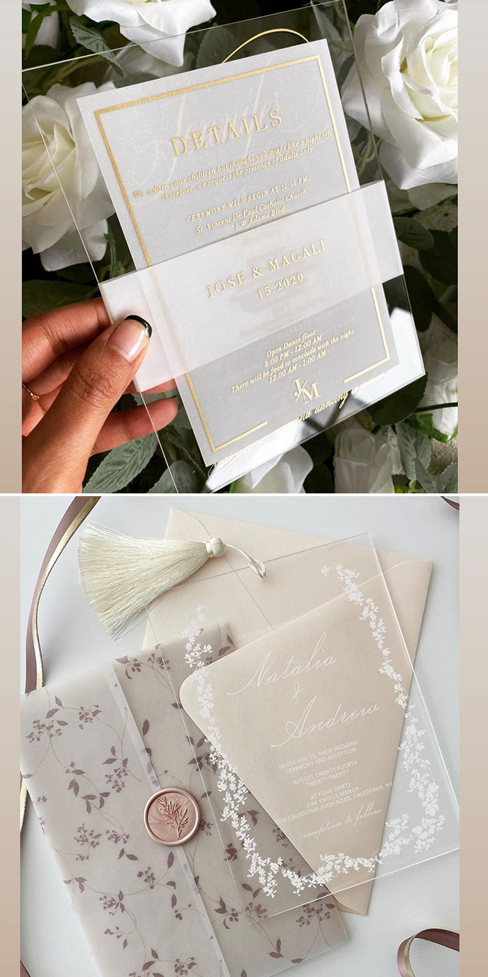 special clear wedding invitation in acrylic and vellum