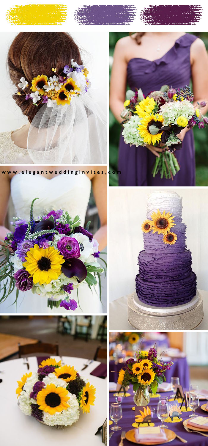 sunflower yellow and purple classic wedding color theme