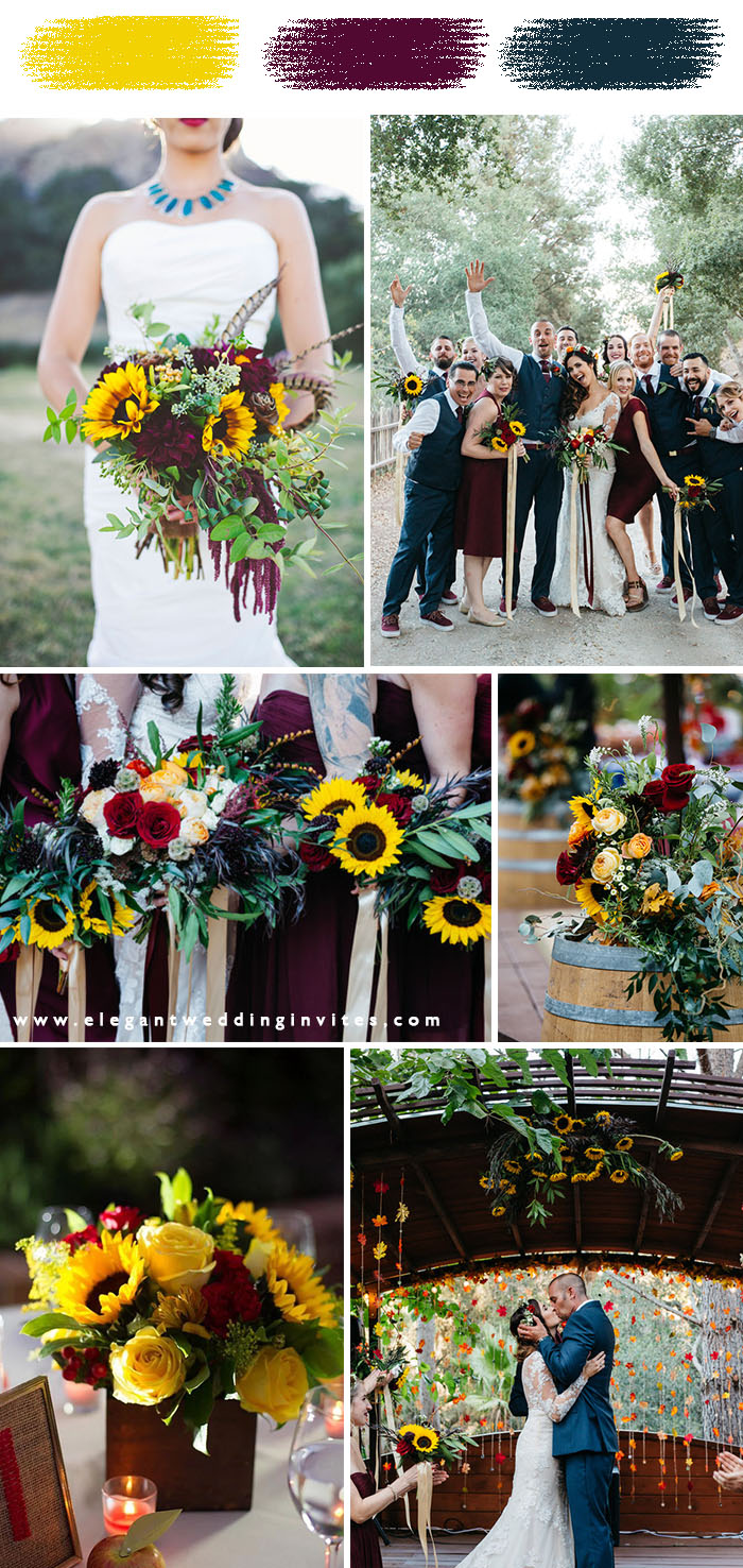 sunflower yellow, burgundy and blue fall and winter wedding colors