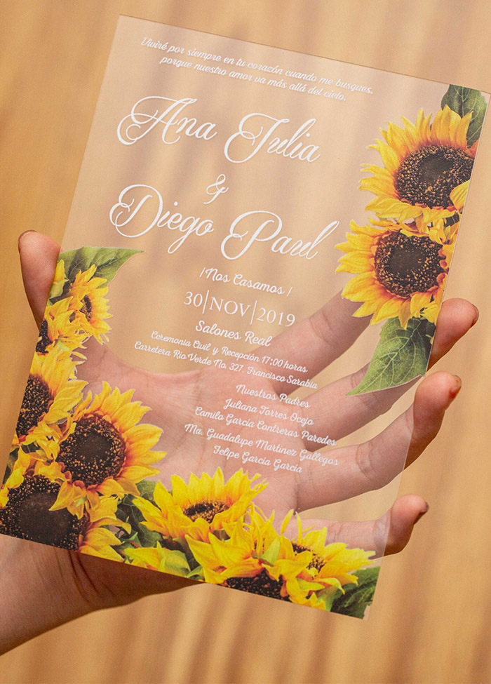 sunflowers design acrylic wedding invitations
