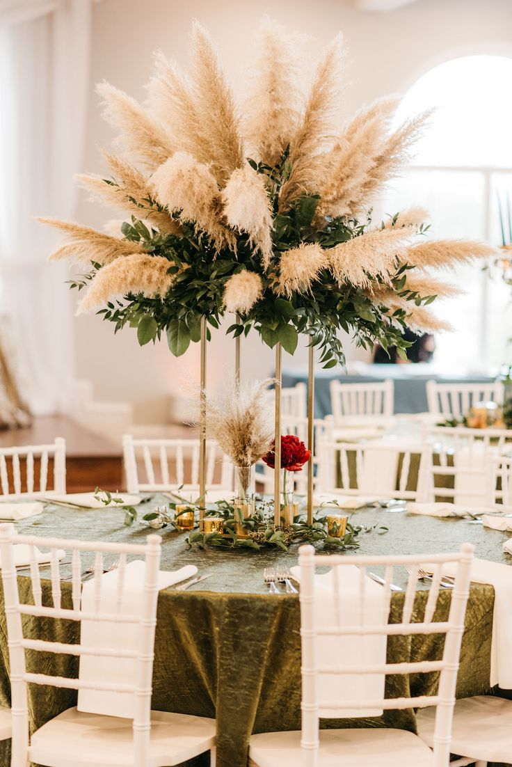tall wedding centerpieces ideas with pampas grass and greenery