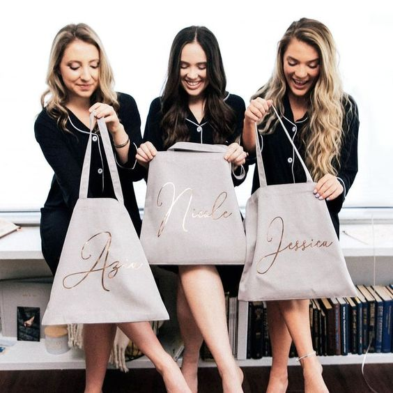 trending bridal shower gift ideas with initial bridesmaid tote bags