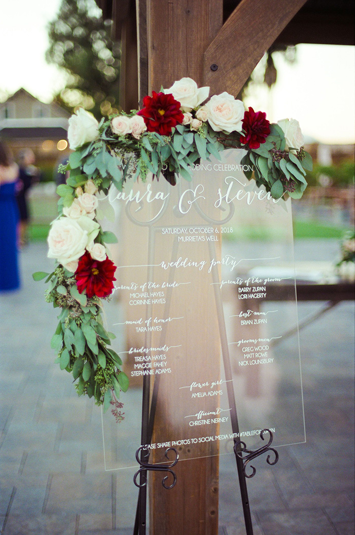 trending clear acrylic wedding program sign with flowers
