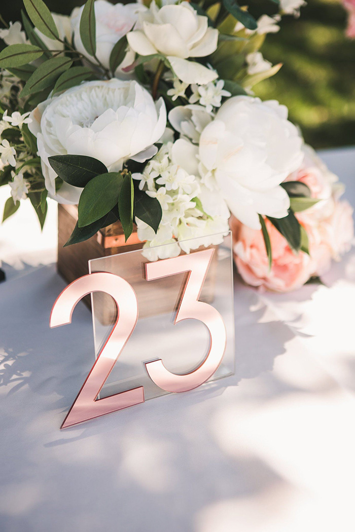 unique mirror and clear acrylic wedding table number