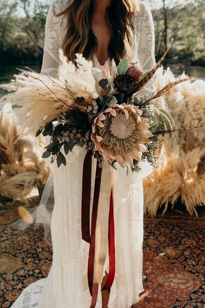 wild flowers boho fall pampas grass wedding bouquet