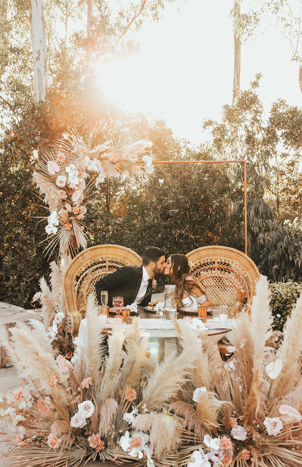wild pampas grass wedding decor for a glam boho wedding