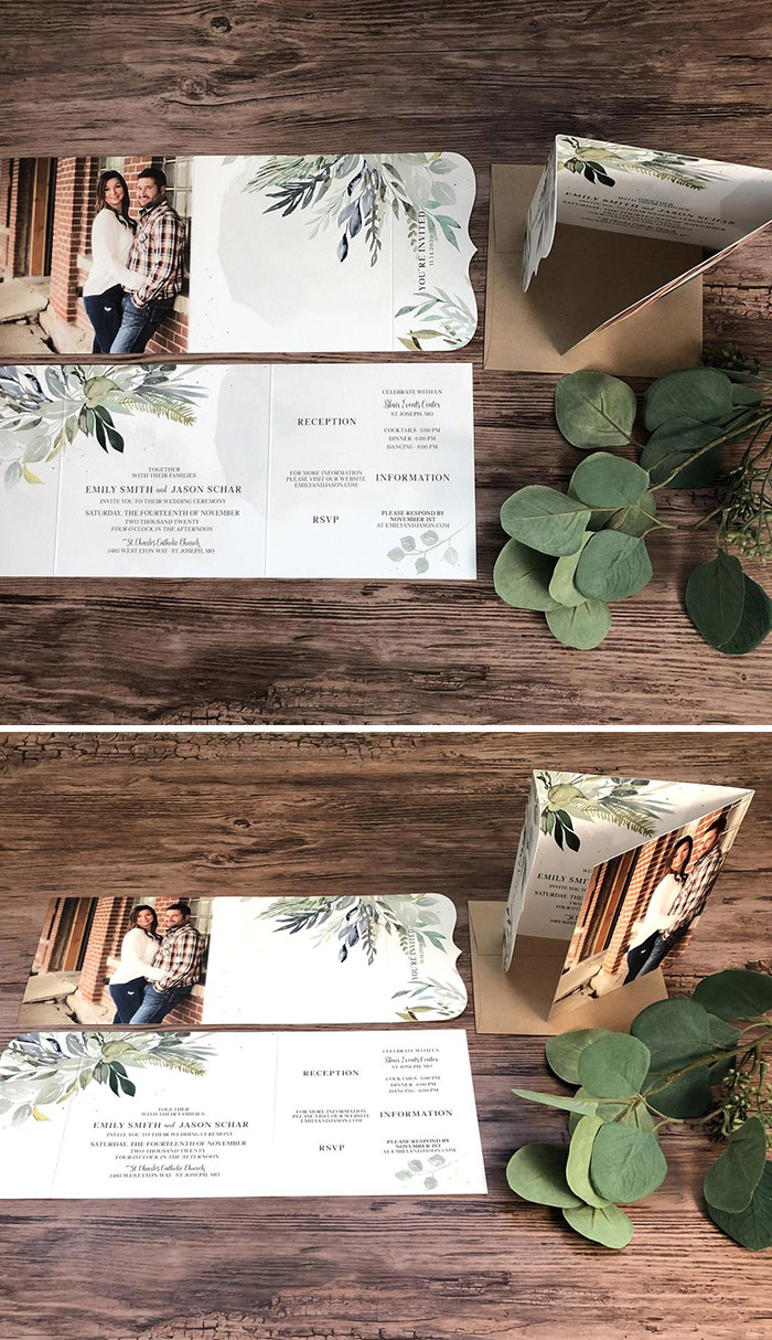 Tri-fold all in one greenery wedding invitation with photos