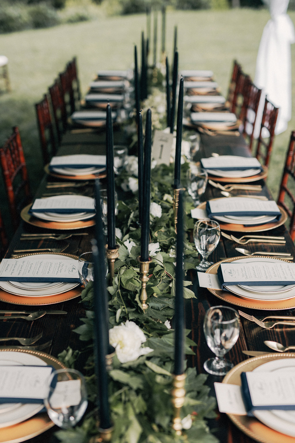 black and greenery vintage wedding table setting