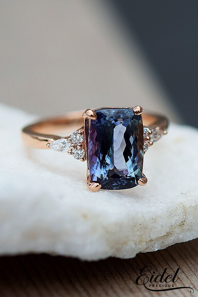 blue diamond rose gold vintage engagement rings