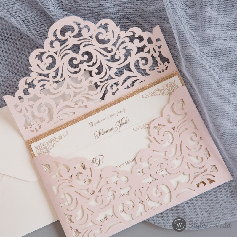 blush shimmer laser cut envelope with vintage inside invitation