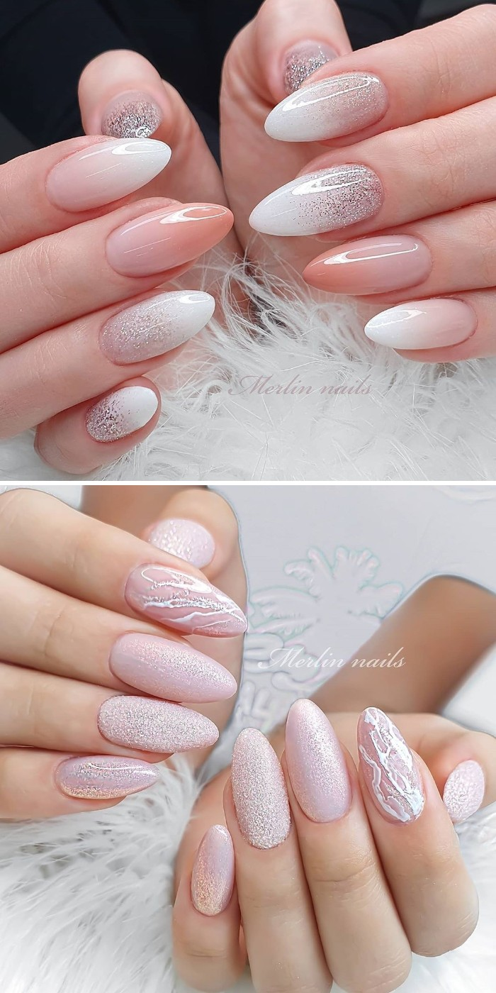 classy acrylic almond wedding nails with glitter for bride