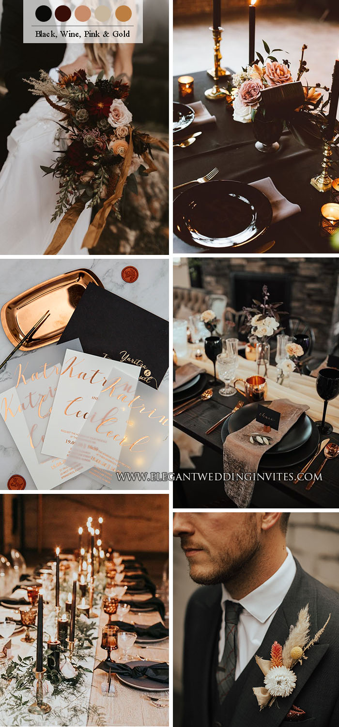 copper, dusty rose and black modern stylish wedding party ideas
