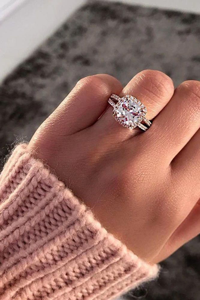 cushion cut rose gold diamond halo engagement rings