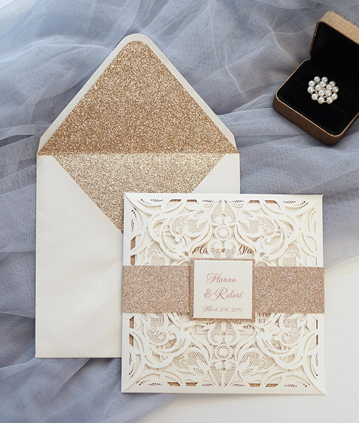 elegant rose gold and ivory wedding invitations with belly band