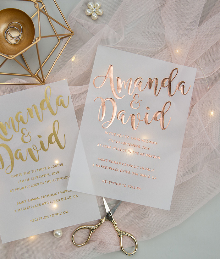 fancy rose gold foil calligraphy modern wedding stationery