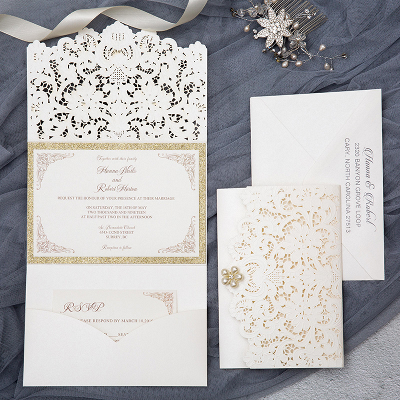 formal elegant ivory and champagne gold glittery pocket wedding invitations with pearl