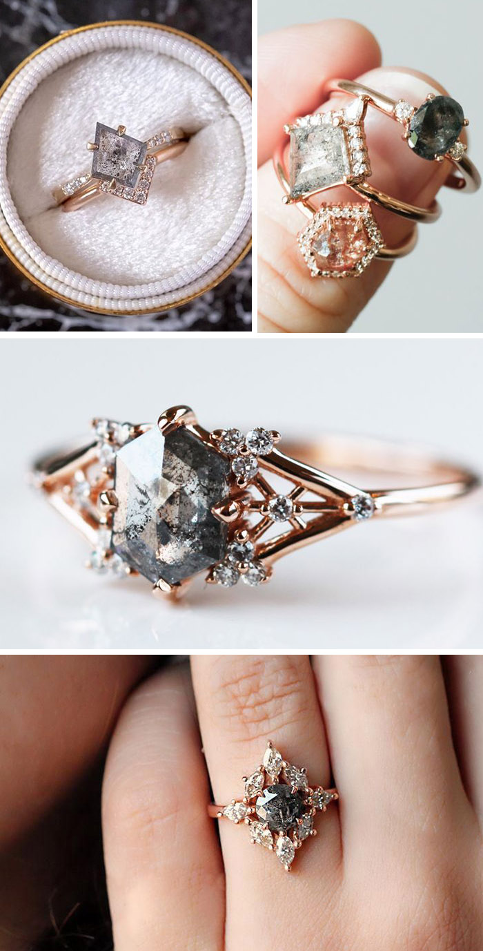 geometric shape salt and pepper engagement and wedding rings