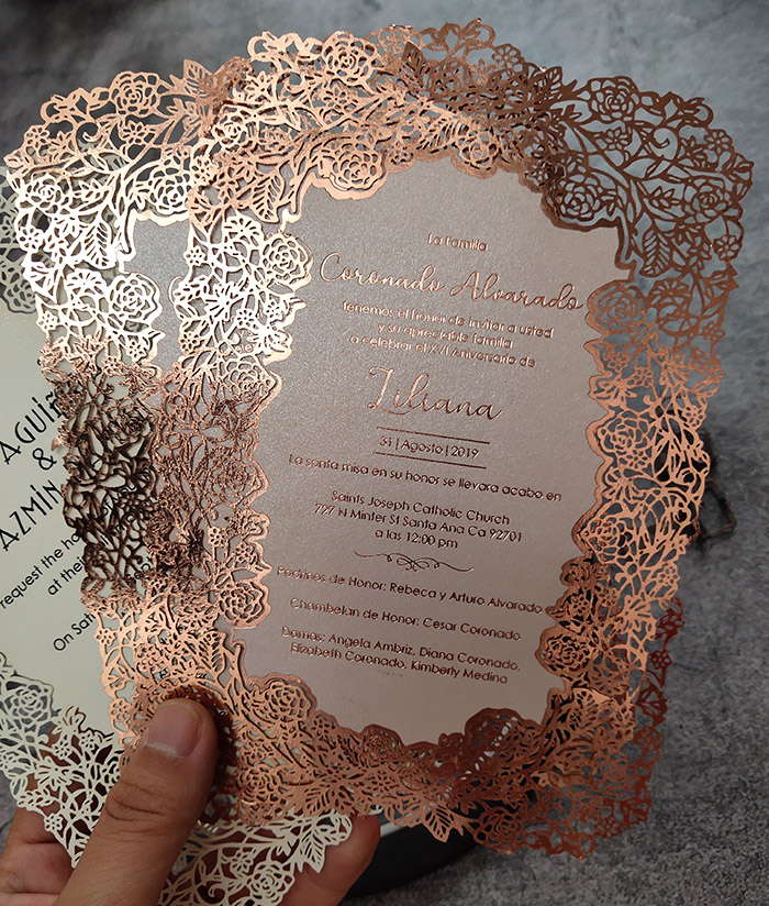 gorgeous fancy rose laser cut wedding card with overwhole foil printing