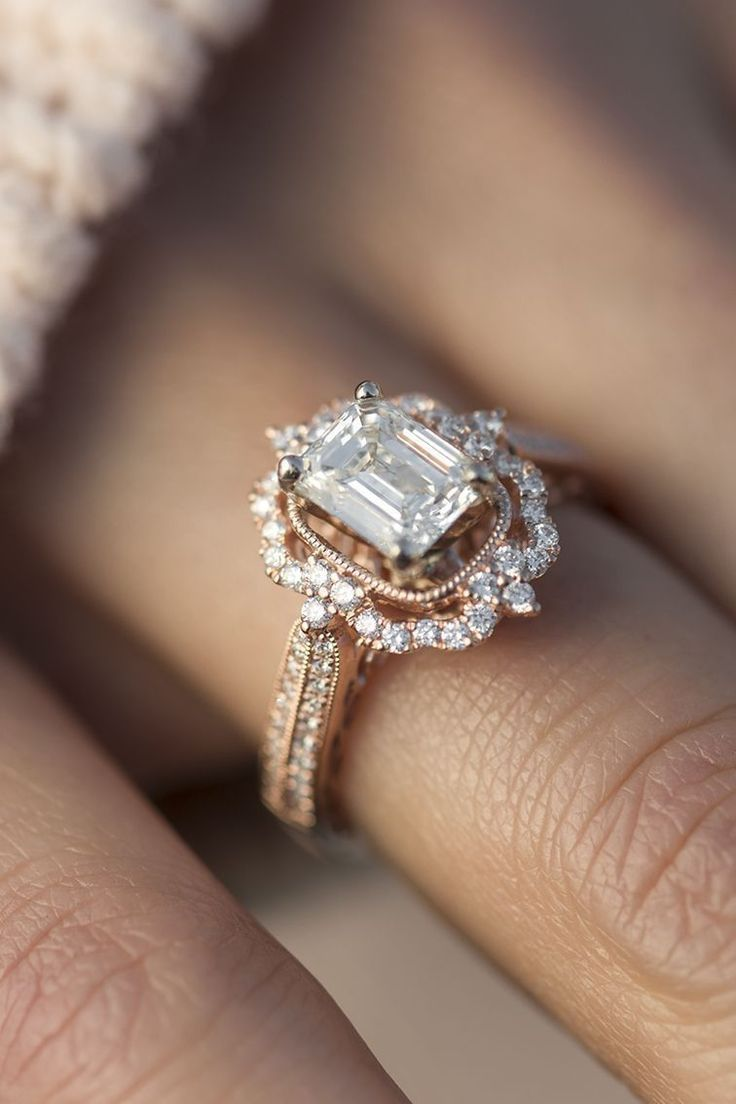 halo vintage engagement ring in rose gold