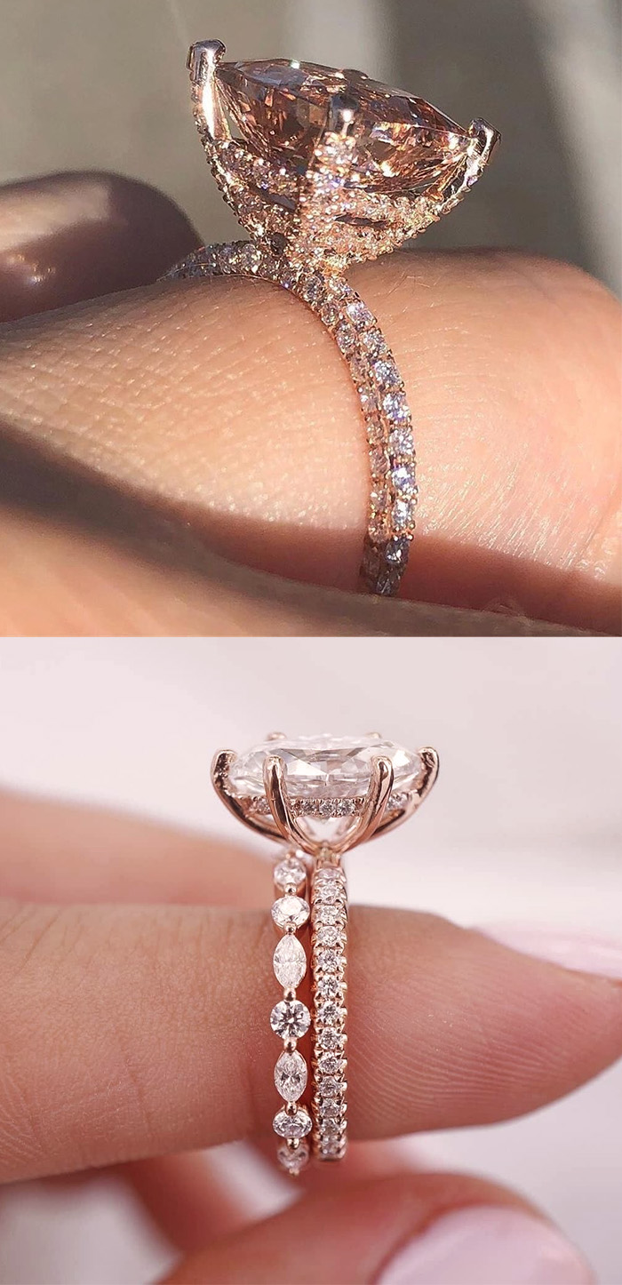 hidden halo diamond and rose gold engagement rings