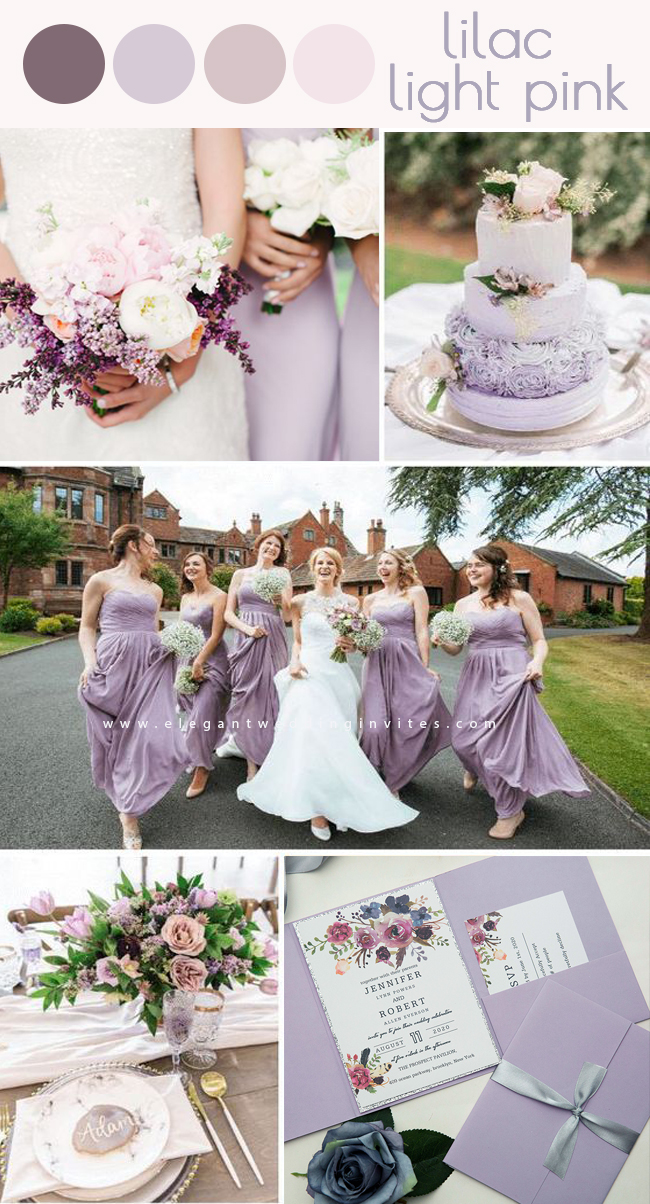 lilac and light pink color perfect for stylish spring and summer wedding