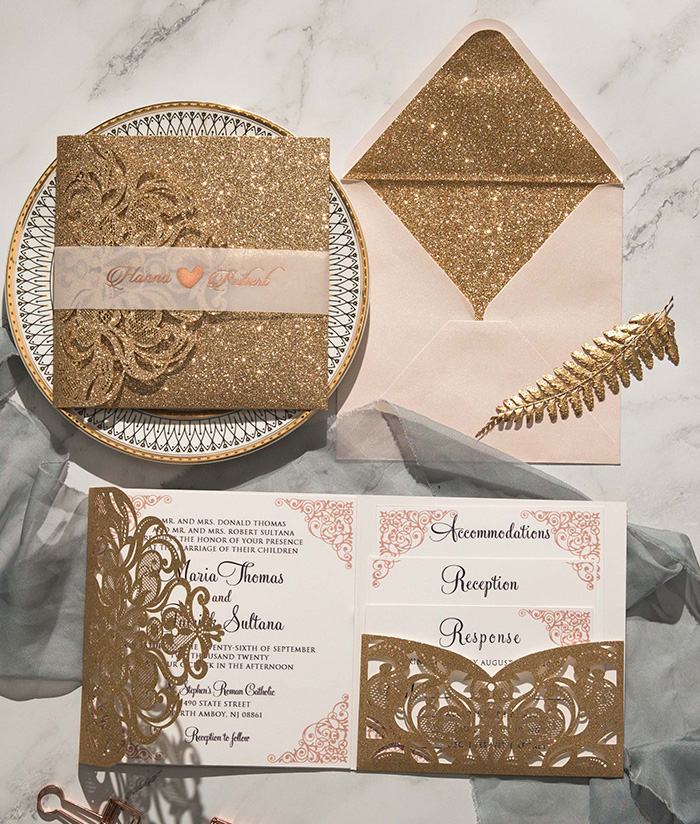 luxurious rose gold pocket wedding invitations