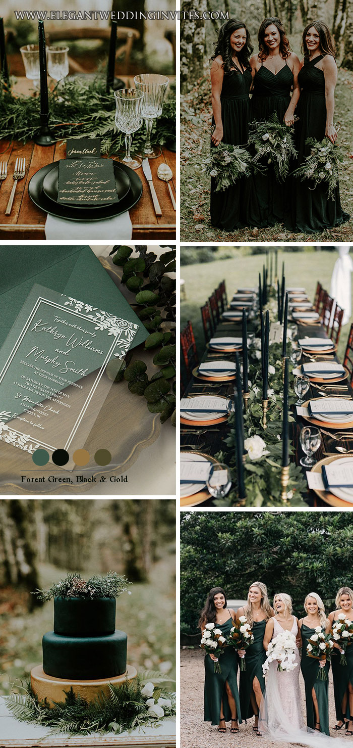 moody black and greenery forest fall and winter wedding theme