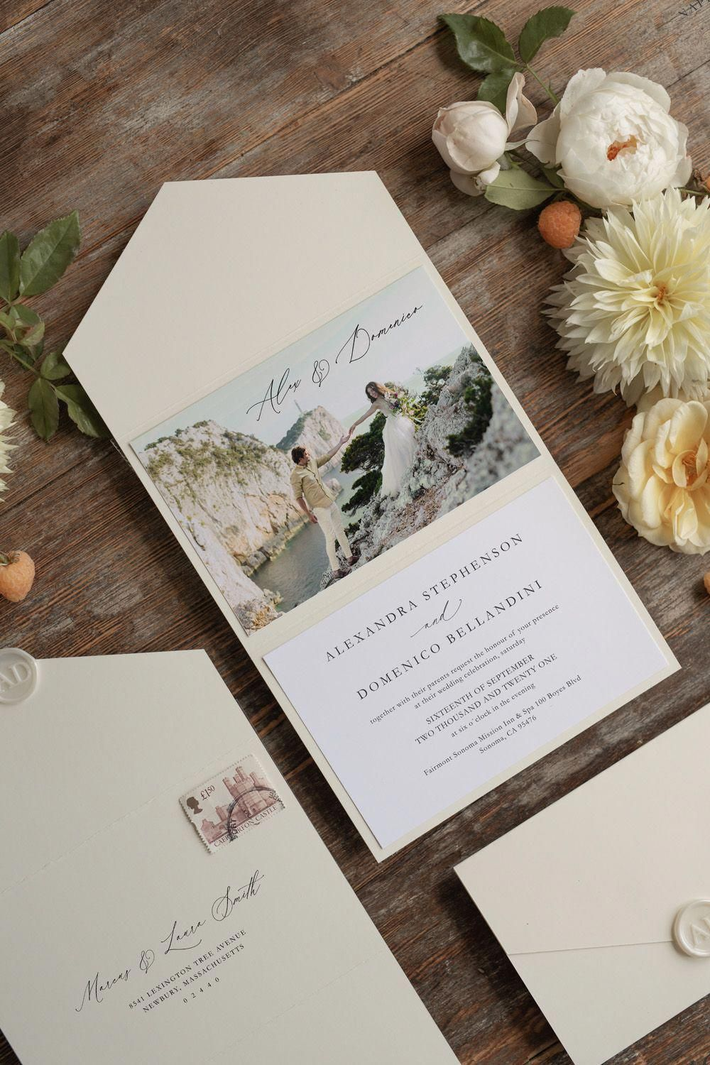 neutral pocket wedding invitation with photo for elopement package
