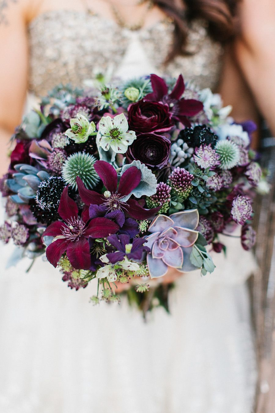 non-traditional wedding bouquet in purple shades