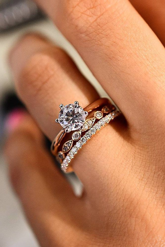 perfect diamond and rose gold wedding ring set