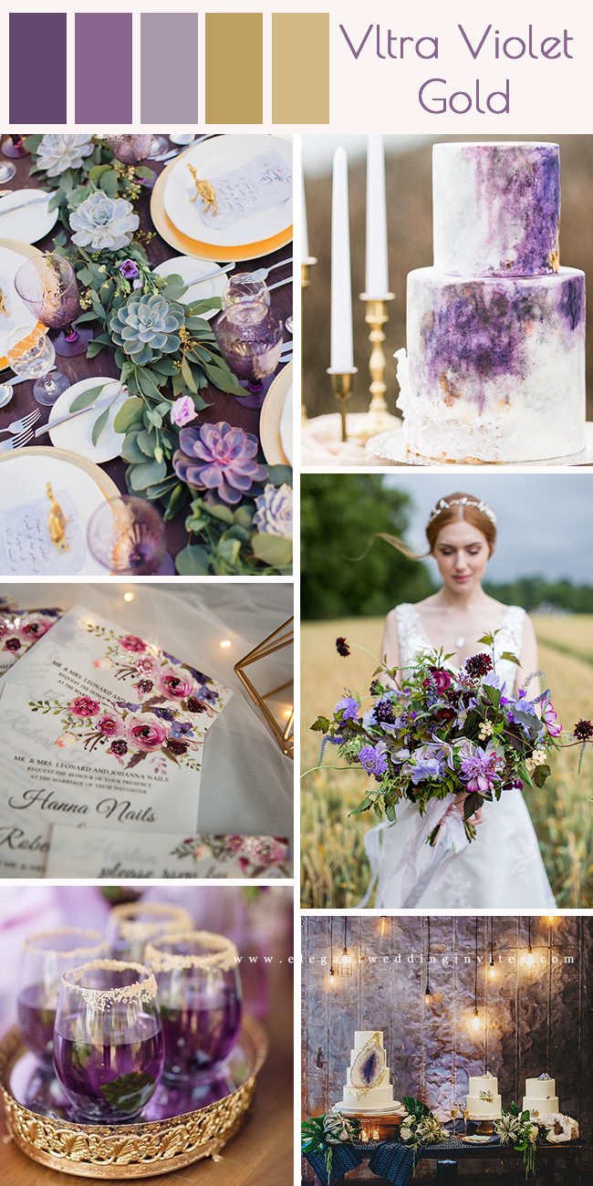 purple wedding color ideas with romantic vltra violet and gold