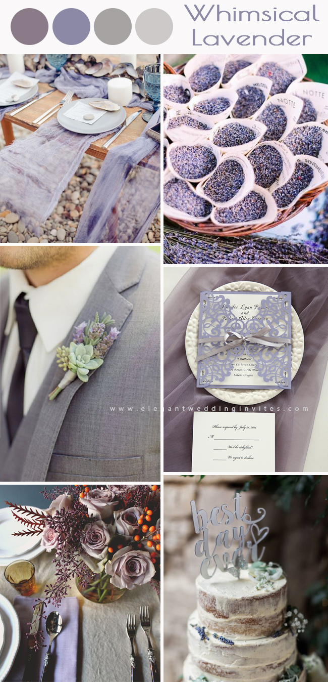 purple wedding color palette ideas with whimsical lavender grey