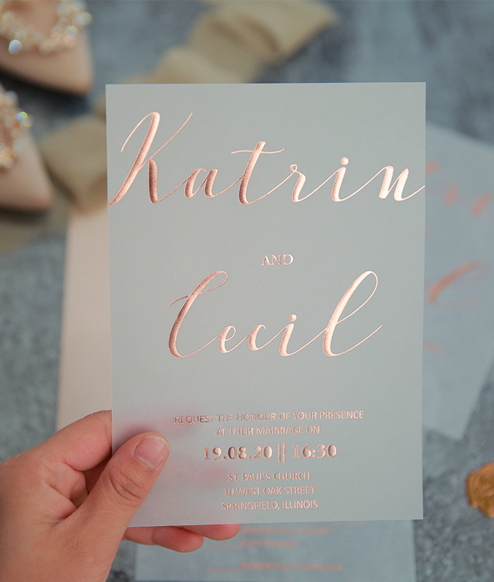 rose gold foil printing on vellum paper wedding card