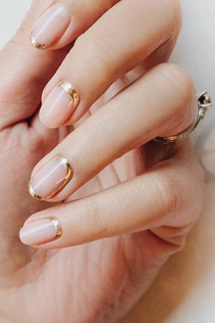 rose gold french wedding nails ideas with lines