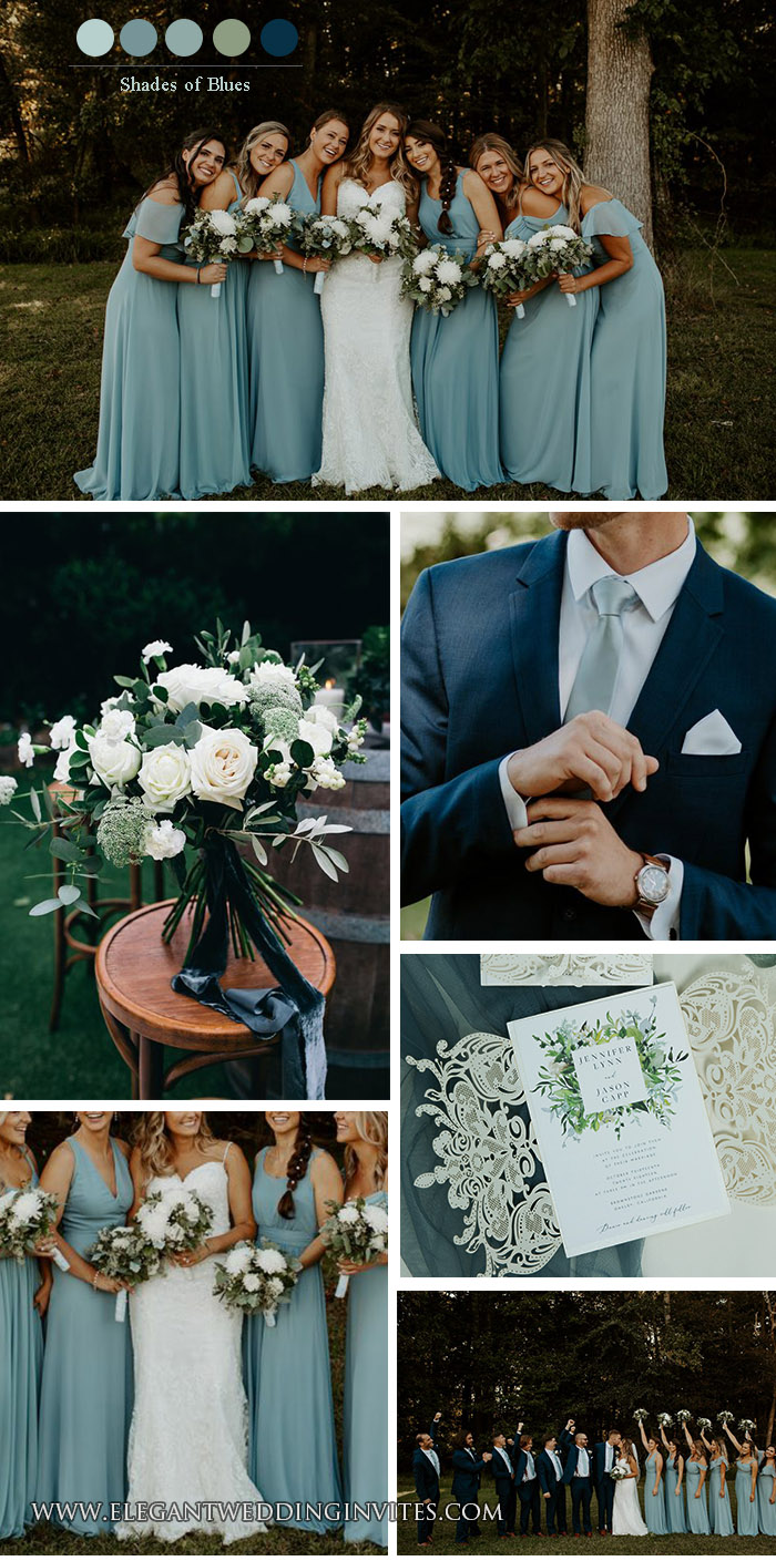 shades of blue fall outdoor wedding inspiration