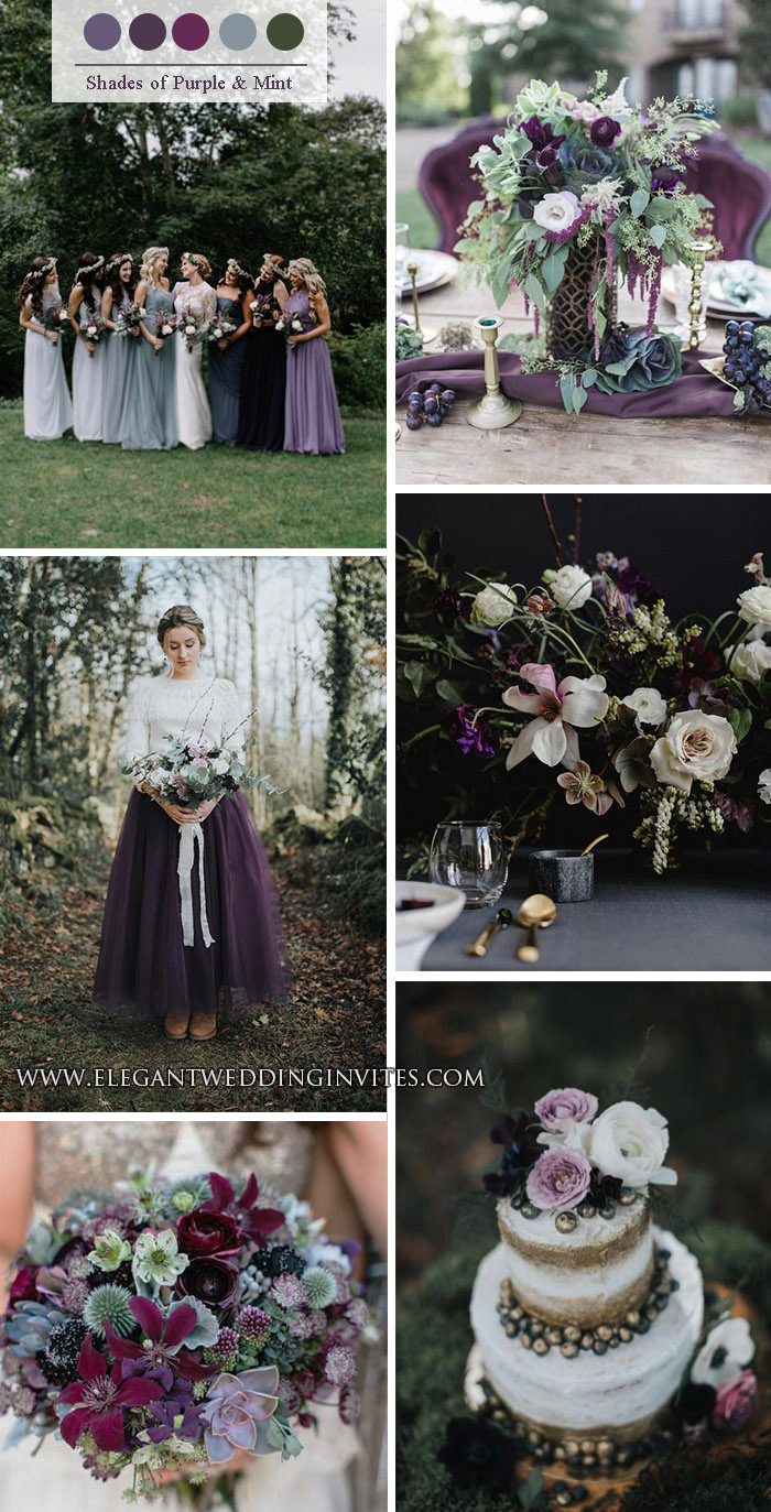 shades of purple and sage green whimsical woodland wedding colors