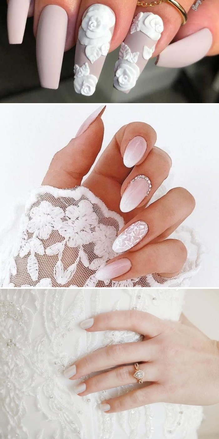 simple but classy acrylic wedding nails for your big day