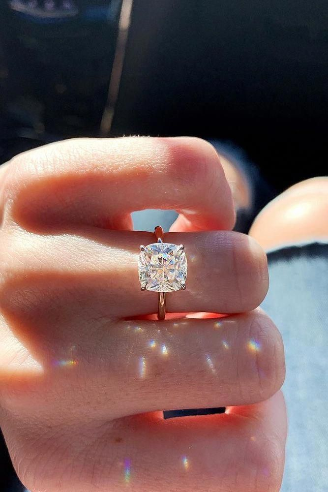 simple rose gold cushion cut engagement ring for her