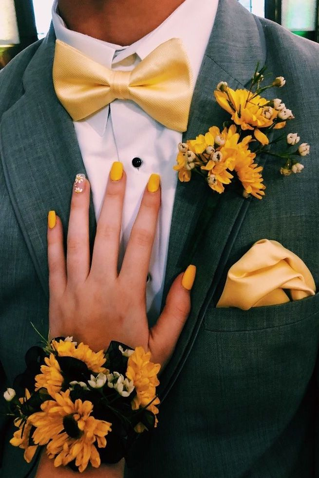 sunflower corsage and boutonniere set wedding nail ideas