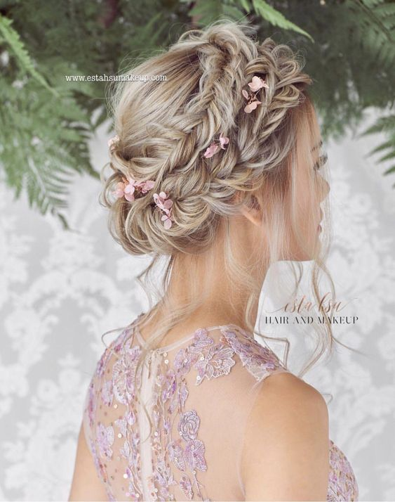 the most popular loose braid updo bridal haistyles with flowers