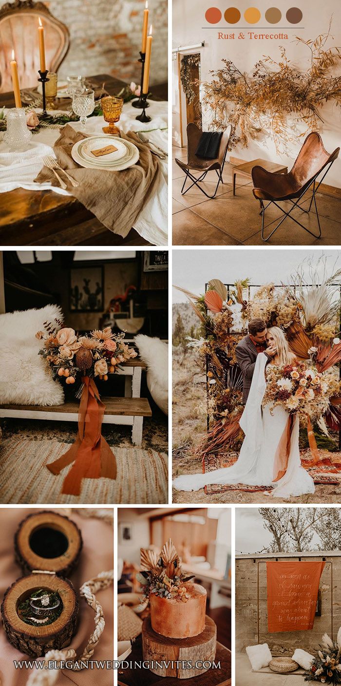 trendy rust orange,mustard and terrecotta earhty tone fall wedding colors