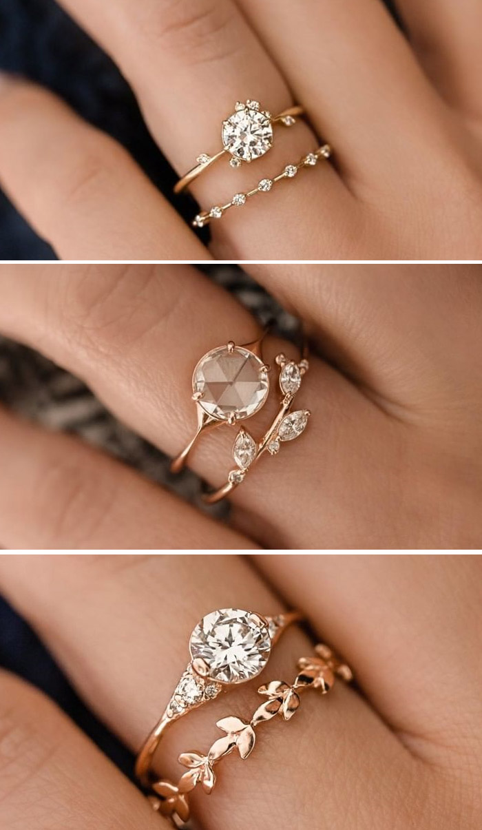 unconventional rose gold engagement ring with petite diamond vine band