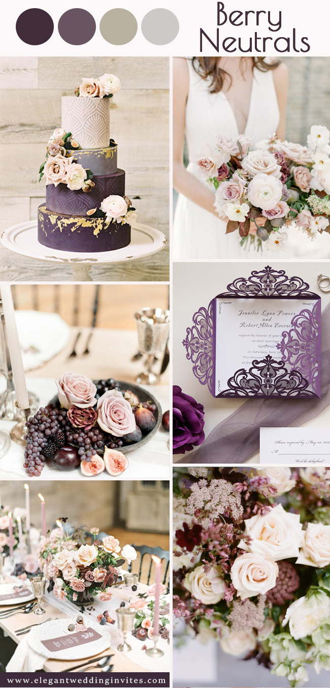 vintage purple berry and neutrals color ideas perfect for fall wedding